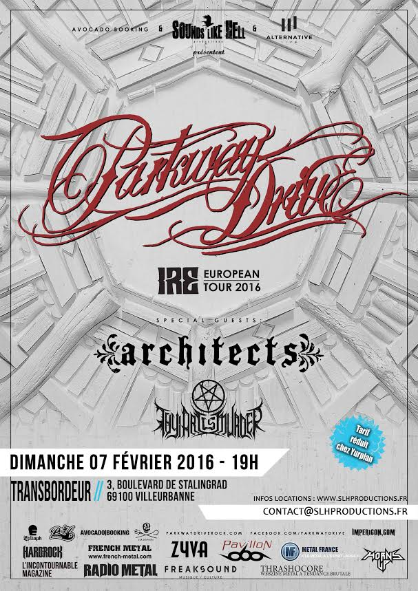 parkway drive architects thy art is murder lyon transbordeur IRE tour 2016 one standing live report