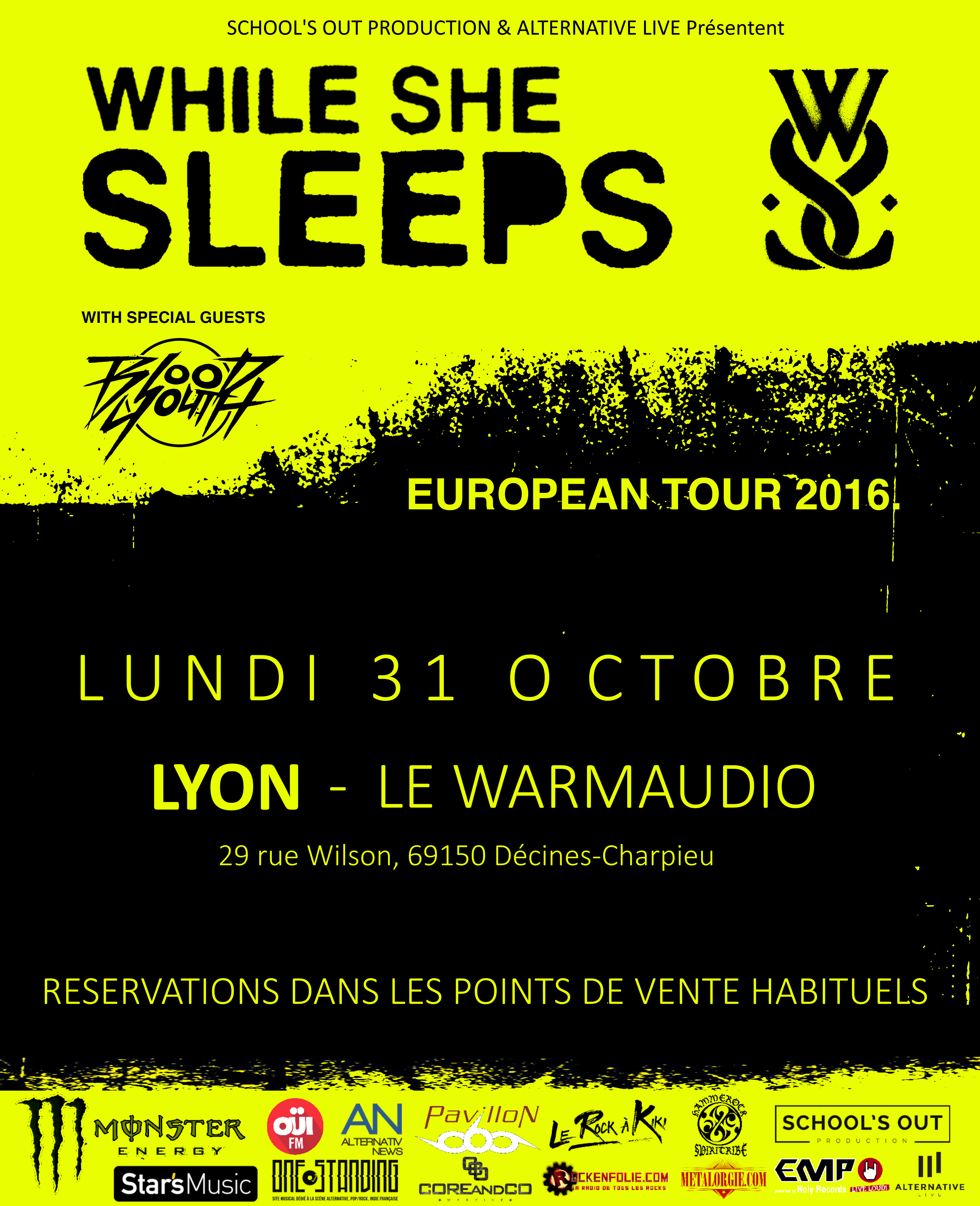 while she sleeps blood youth lyon warmaudio school's out prod one standing live report