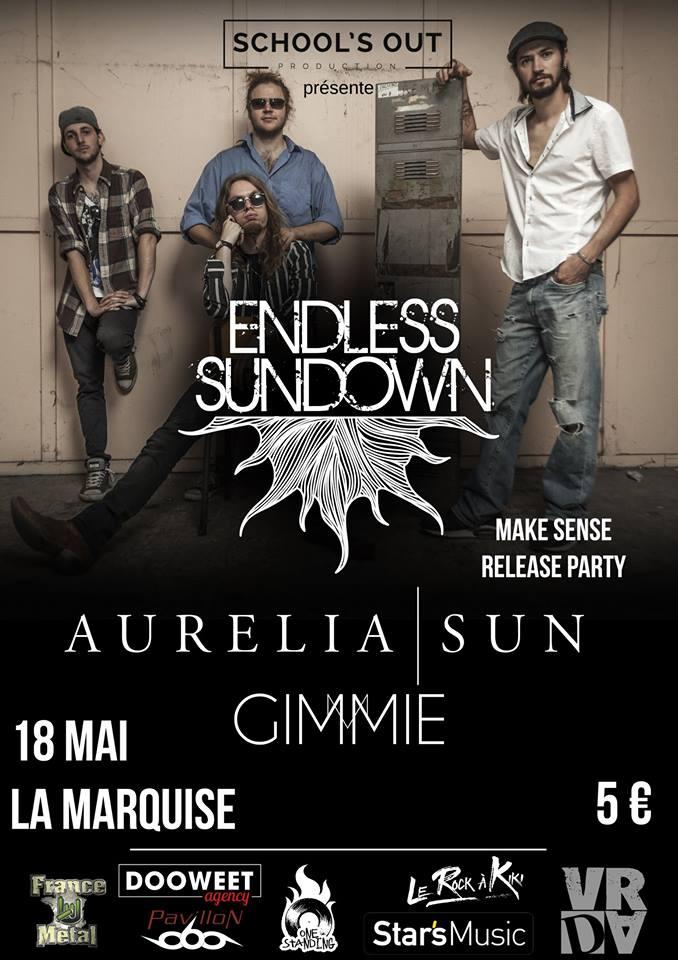 endless sundown release party aurelia sun gimmie school's out production la marquise lyon one standing live report