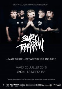 Bury Tomorrow mate's fate between skies and mind la marquise lyon school's out prod alternative live
