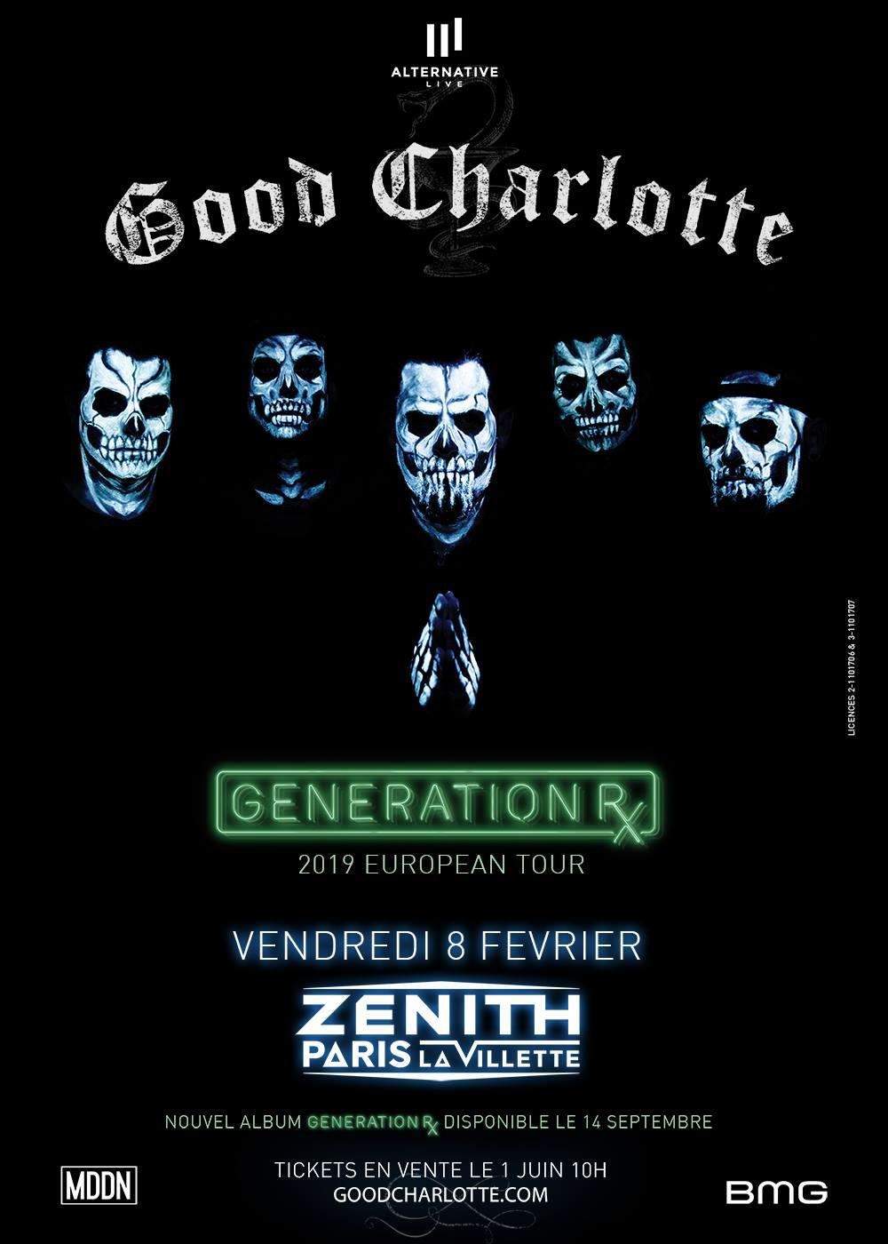 good Charlotte generation rx actual pain zénith de Paris alternative live BMG