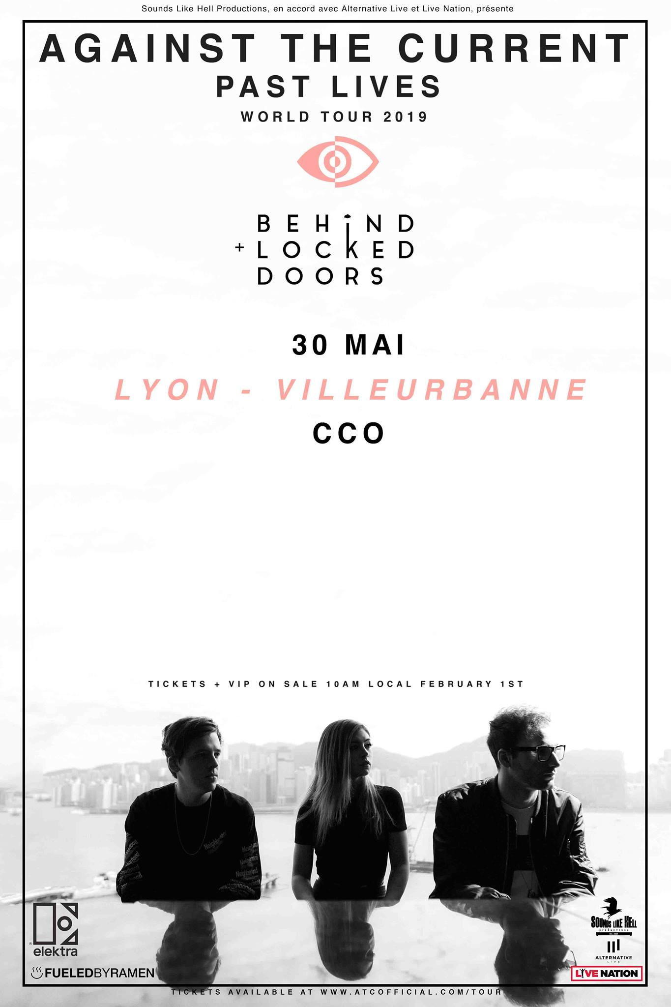 against the current past lives world tour behind locked doors CCO Lyon sounds like hell productions alternative live fueled by ramen live nation france