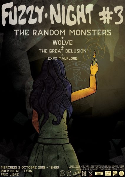 fuzzy night #3 chaos project lyon the random monsters wolve the great delusion exposition malflore rock'n'eat